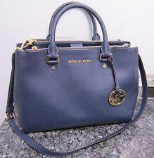 MICHAEL KORS Sutton Saffiano Leather Large Satchel Navy MSRP$368