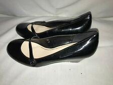 Elegant  M&S Mary Jane Courts Black patent leather Wedge Heel Shoe UK 3.5