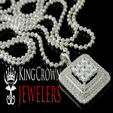 14K White Gold Silver Ladies Lab Diamond Mini Pendant Charm Chain Necklace Set