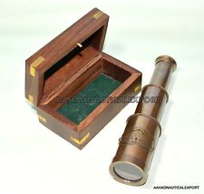6'Brass Antique Telescope With Wooden Box A Vintage Spyglass Gift
