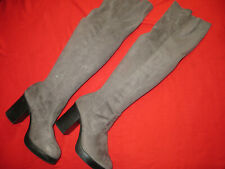 ladies size 8 NEW LOOK long thigh length grey suede look boots heels used briefl
