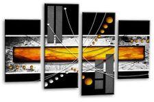 GRANDE ARANCIO NERO GRIGIO ART. a Muro Astratta foto stampa PANNELLO diviso Multi