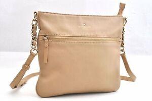 Authentic Kate Spade Shoulder Bag Leather Beige 94985