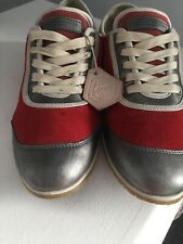 Rudolf Dassler by Puma Red Leather Silver Trainers UK 6 - Rare