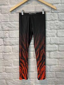 GOLDSHEEP Girls Orange Black Animal Print Stretch Leggings Size M 7/8