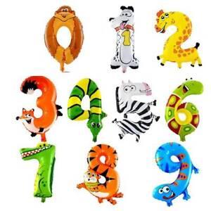 0-9 Number Balloon 16 Inch Wild Animal Theme Baby Shower Birthday Party Decor