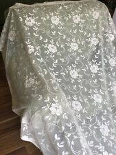 """4 White Lace,mesh,netting Panels JC Penney USA Made Each 56"""" X64"""""""