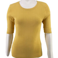 White House Black Market Yellow Ribbed Cuffed Short Sleeve Top Womens Size Small