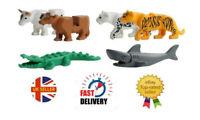6 X Animal MiniFigures Zoo Tiger Leopard Crocodile Cow shark Minifigure Fit Lego