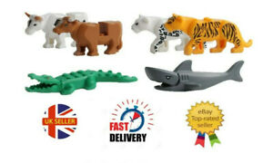 6 X Animal MiniFigures Zoo Tiger Leopard Crocodile Cow shark Minifigure Fit Lego