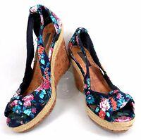 Womens Platform Wedge Shoe Material Girl Floral Cork Peep-toe Sandal Heels 7.5M