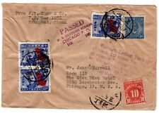1940 Shanghai China Cover to Chicago Foreign Letter Package Customs Due 10