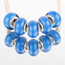 Bling blue 5pcs SILVER MURANO bead LAMPWORK suit European Charm Bracelet