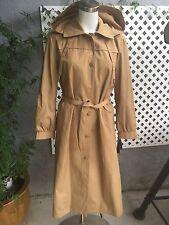 NWT LONDON FOG Womens Khaki Classic Maincoat Belted Hooded Coat Sz 14 Reg