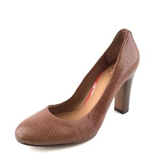 New Coach Sue Brown Leather Snake Print Casual Pumps Women's Size 38.5 M*