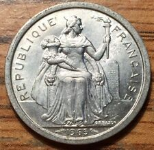 1965 French Polynesia 1 Franc Aluminum Coin - Paris Mint -