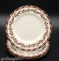 Williams Sonoma Wedgwood Plymouth * 4 SALAD PLATES * Brown, Acorns, Excellent!