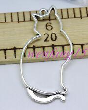 Charms pendant Tibetan silver Fat Cat fit diy necklace 3-50pcs 52x27mm 4.8g #5