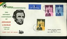 Postal History Ghana Fdc #39-41 Abraham Lincoln Memorial 1959