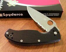 Couteau Spyderco Tenacious Part Serrat Lame Acier 8Cr13Mov Manche G-10 SC122GPS