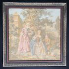 """Vintage French Tapestry Wall Hanging Framed Aubusson Style Garden Scene 11x11"""""""