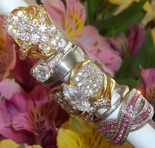 NOS Seta Gold Plated Ring Lot C2 sz 8 3/4 - 9 3/4 Cocktail Band Pink X CZ Band