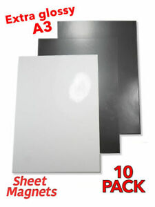 10 PACK | A3 Sheet Magnets | WHITE GLOSS | Magnetic Photo Paper Whiteboard Memo