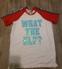Victoria Secret PINK What The Elf Sequin Tee Small *NWT*