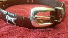 Men's Great Dane Dog Brown Leather Belt with Conchos 28R