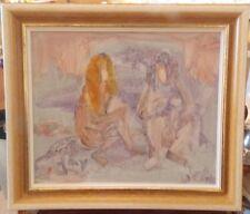 Tableau Jac Lem Joseph Lemonnier dédicacé Femmes mimétisme abstrait peinture