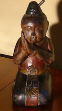 "ANTIQUE CHINESE MAHOGANY WOOD HAND CARVED PAINTED DOLL""KNEELING SLEEPING BOY""12"""