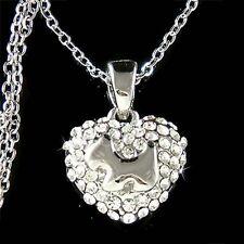w Swarovski Crystal Westie ~Scottish Terrier Dog~ Heart Scottie Pendant Necklace