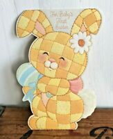 Vtg 70s 80s Hallmark Greeting Card Baby's First Easter Die Cut Patchwork Bunny