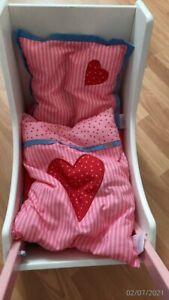 HABA Puppenwagen Lauflernwagen Holz weiß rosa