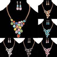 Women Rhinestone Crystal Branch Pendant Choker Bib Statement Necklace Chain Gift