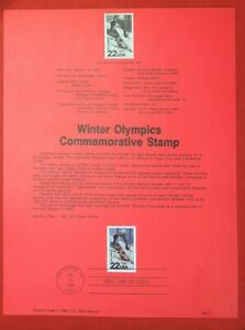 ZAYIX - 1988 United States Souvenir Page #SP822 - Winter Olympics / Skiing