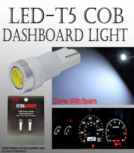 10 pcs LED COB T5 White Ash Tray Dashboard Gauge Direct Plugin Light Bulbs F110
