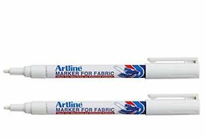 Artline White Permanent Fabric Markers pen for clothing (2 Markers)