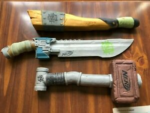 RARE Nerf Zombie Strike Hammer, 2x4, and Machete Foam Cosplay Halloween Lot of 3