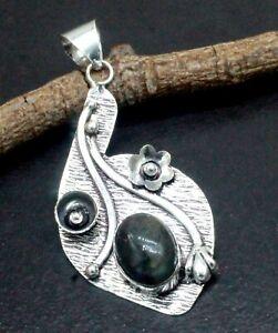 "925 Sterling Silver Labradorite Gemstone Handmade Jewelry Pendant Size-2.10"""