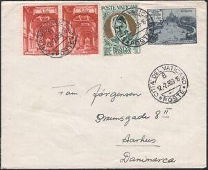 VATICAN, 1953. Cover 130, 132 (2), 146. Aarhus, Denmark