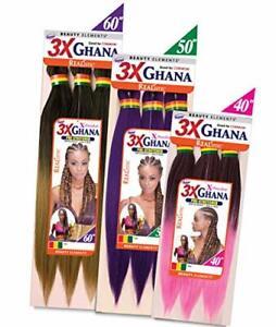 "REALISTIC-Multi Pack Deals! Pre-stretched X-Pression 3X Ghana Braids 40"""