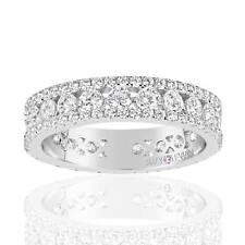 Suzy Levian Sterling Silver Cubic Zirconia White Three Row Modern Eternity Band