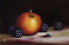 More details for jane palmer art original still life oil painting, apple with blackberries