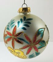 """Designers Studio POINSETTIA CHRISTMAS ORNAMENT Hand Crafted Modern 3.5"""""""
