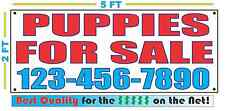 PUPPIES FOR SALE w CUSTOM PHONE Banner Sign NEW Size Best Quality for the $