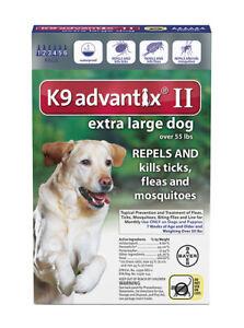 K9 ADVANTIX II FLEA & TICK FOR DOG OVER 55 LB 6 DOSES SHIPS FROM USA EPA APPR.