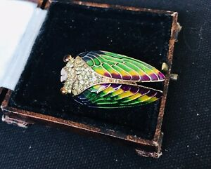 Vintage Style Jewellery Gemstones And Enamel Cicada Brooch