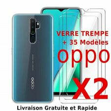 OPPO A9 2020/ A5 2020/ Reno2 - 2 Vitre verre trempé protection écran+ Coque gel