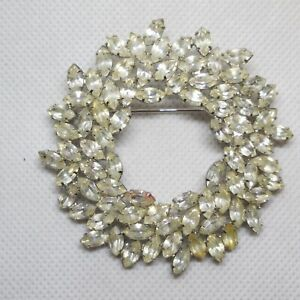 "Vintage Wreath Rhinestone  Brooch  2 1/4"" Pin"